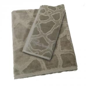Roberto Cavalli set 1+1 asciugamano e ospite JERAPAH' spugna di puro cotone - grigio