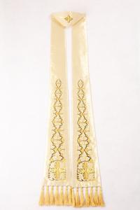 Stola S53 M3 Ricamo Foglie Bianca e Oro