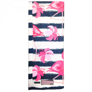 Telo da mare in microfibra 100x170 cm Flamingo floreale