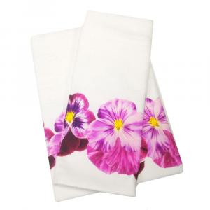 Coppia di asciugamani set 1+1 in spugna VIOLETTE var.13 stampa digitale