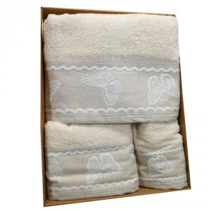 Set 3 asciugamani - telo, viso e ospite in spugna  Fly beige