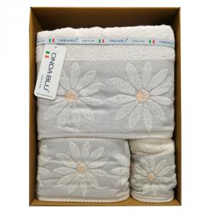 Set 3 asciugamani - telo, viso e ospite in spugna Paloma beige