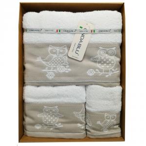 Set 3 asciugamani 1 Telo + 1 asciugamano + 1 ospite in spugna Gufetti bianco