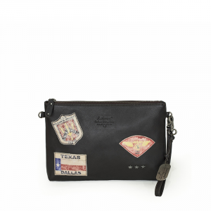 Avirex - Top Gun - Pochette in Pelle con Patches Militari Edizione Limitata Marrone cod. TPGN-112
