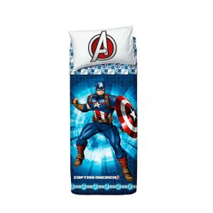 Set lenzuola letto singolo 1 piazza BASSETTI AVENGERS Captain America