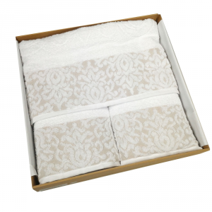 Set 5 pezzi - telo bagno, 2 asciugamani viso, 2 ospiti Emma bianco
