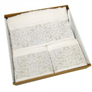 Set 5 pezzi - telo bagno, 2 asciugamani viso, 2 ospiti Emma beige