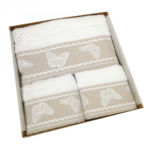 Set 5 pezzi - telo bagno, 2 asciugamani viso, 2 ospiti Fly bianco