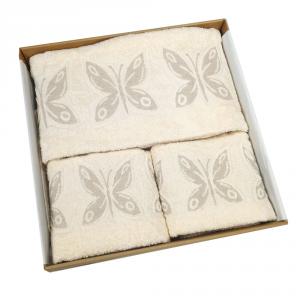 Set 5 pezzi - telo bagno, 2 asciugamani viso, 2 ospiti Farfalle beige