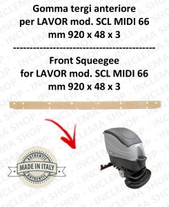 SCL MIDI 66 Squeegee rubber Scrubber dryer front for LAVOR PRO