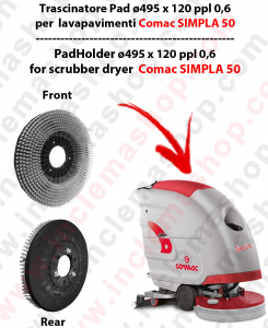 SIMPLA 50 (NEW) Cleaning BRUSH  in PPL 0,60 Dimensions ø 495 X 120 3 pioli for scrubber dryers COMAC