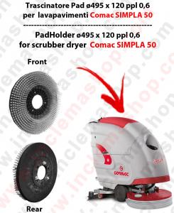 SIMPLA 50 (NEW) Cepillo Standard  in PPL 0,60 Dimensiones ø 495 X 120 3 pioli para fregadora COMAC