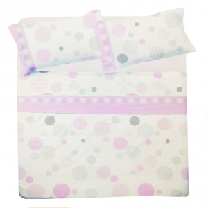 Set lenzuola matrimoniale 2 piazze in puro cotone BOLLE bianco