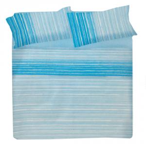 Set lenzuola matrimoniale 2 piazze in puro cotone TECLA azzurro