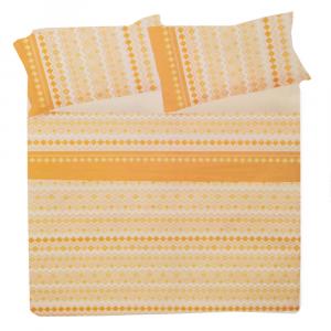 Set lenzuola matrimoniale 2 piazze in puro cotone ROMBI arancione