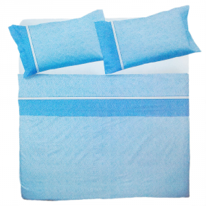 Set lenzuola matrimoniale 2 piazze in puro cotone MELBOURNE azzurro