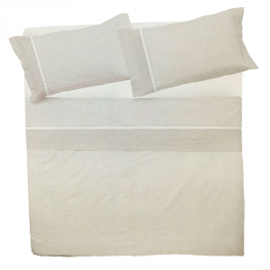 Set lenzuola matrimoniale 2 piazze in puro cotone MELBOURNE grigio
