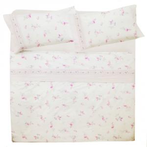 Set lenzuola matrimoniale 2 piazze in puro cotone REBECCA bianco