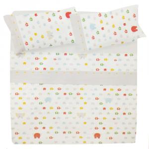 Set lenzuola una piazza e mezza in puro cotone ELEFANTINI bianco