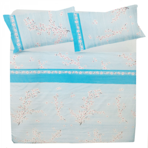 Set lenzuola matrimoniale 2 piazze in puro cotone PESCO azzurro