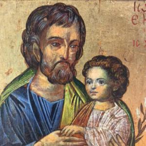 Icona San Giuseppe e Gesù bambino di Svetlozar Mladenov 14,5 x 16,5 cm