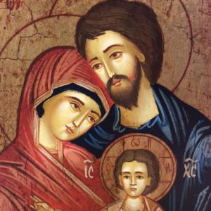 Icona rumena dipinta Sacra Famiglia