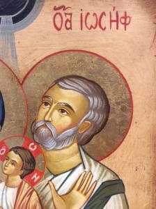 Icona rumena dipinta Sacra Famiglia 22 x 17 cm