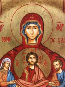 Icona rumena dipinta Vergine dell'Alleanza 22 x 18 cm