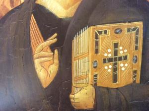 Icona rumena dipinta Cristo Pantocratore 22 x 18 cm