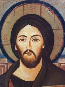 Icona rumena dipinta Cristo Pantocratore 14 x 18 cm