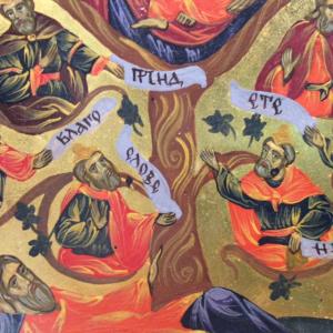 Icona bulgara dipinta Albero di Jesse 20,5 x 28 cm