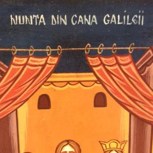 Icona rumena dipinta Nozze di Cana 22 x 30 cm