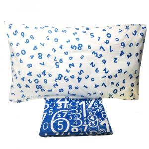 Set lenzuola una piazza e mezza in puro cotone NUMBERS blu