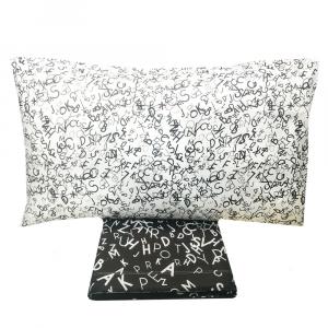 Set lenzuola una piazza e mezza in puro cotone ALPHABET nero