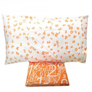 Set lenzuola singolo 1 piazza in puro cotone NUMBERS arancione