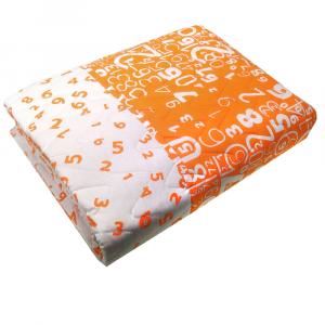 Copriletto trapuntato primaverile singolo 1 piazza NUMBERS arancione