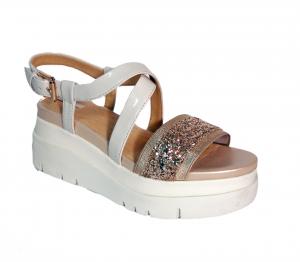Sandalo bianco sporco/oro Geox