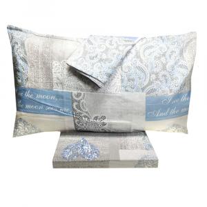 Set lenzuola matrimoniale 2 piazze in puro cotone SHABBY CHIC azzurro