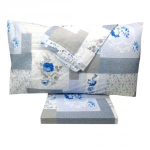 Set lenzuola matrimoniale 2 piazze in puro cotone FLOREALE blu