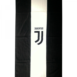 Telo mare in spugna JUVE 70x140 cm Official Product bianco-nero