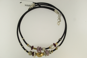 Collana Cuoio Argento Oro e Pietra (Agata, Perle, Rubini)