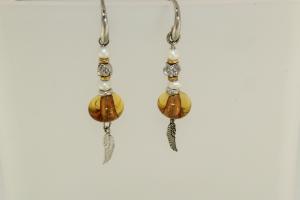 Orecchini in Argento Oro e Pietre (Perle - Citrino)