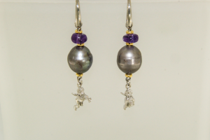 Orecchini in Argento con Angelo e Pietre (Perle - Ametiste)