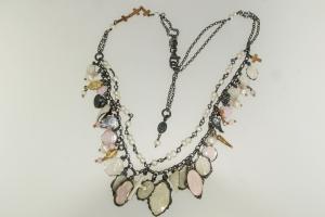 Collana in Argento, Smalto e Perle di Acqua dolce