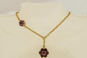 Collana in Oro con Fiore di Rubelliti e Rodoliti