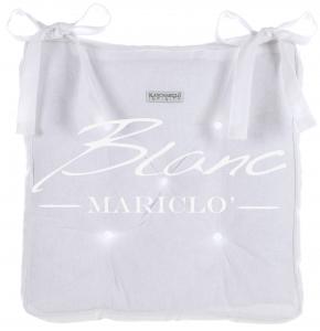 Cuscino Sedia Imbottito Bianco  con lacci  40x40    Blanc MariClo' Shabby Chic Infinity Collection