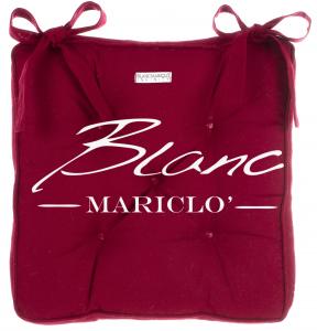 Cuscino Sedia Imbottito Bordeaux  Cerato  con lacci  40x40    Blanc MariClo' Shabby Chic Infinity Collection