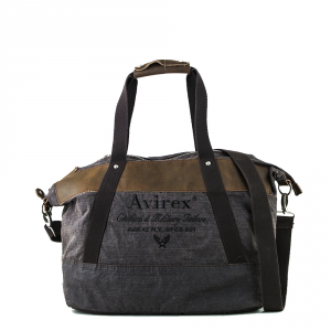 Avirex- D Day - Borsa da donna a tracolla in canvas marrone scuro cod. DDY-F02