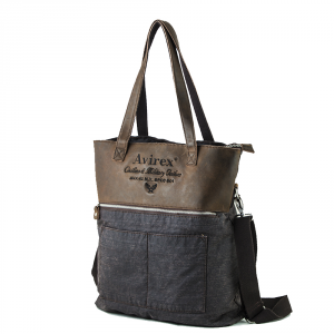 Avirex- D Day - Borsa da donna da spalla in canvas marrone scuro cod. DDY-F05