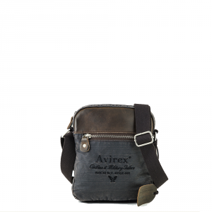 Avirex- D Day - Borsa a tracolla unisex in canvas marrone scuro cod. DDY-F06-A